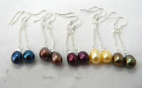 Wholesale Lot 4Pairs Freshwater Pearl Dangle Sterling Silver Earrings