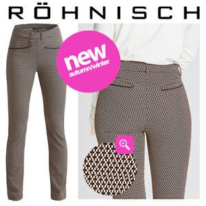 Rohnisch Women's Smooth Soft Twill Check Golf Pants Beige/Black - NEW! 2021
