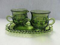 Indiana Glass King's Crown (Thumbprint) Avocado Green Sugar/Creamer/Tray Set