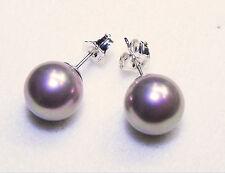 Medium Large Purple / Mauve / Lavender Pearl Stud Sterling Silver 925 Earrings