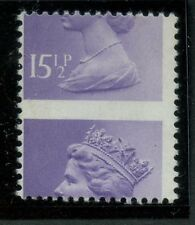 GB QE2 MACHIN ERROR 15 1/2p MAJOR MISPERFORATION  Unused; no gum