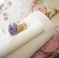 Cottage Shabby Chic Zakka Plain Linen Cotton Fabric Soft White-Cream Large FQ