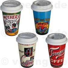 """4x Kaffee-Becher mit Silikondeckel Coffee to go """"Nostalgic Coffee Brand"""" 16x10cm"""