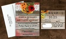 Sunflower Wedding Invitations Personalized Lace Set of 50 With RSVP and Envelope