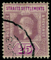 MALAYSIA - Staits Settlements SG205, 25c dull purple&mauve, FU. Cat £14.MULT CA.