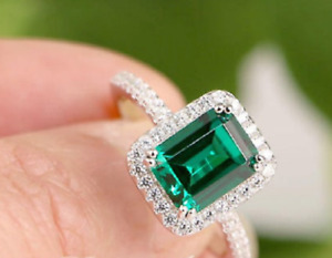 5Ct Emerald Cut Green Emerald Diamond Halo Engagement Ring 14K White Gold Finish