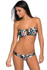 Costume Da Bagno Camouflage Stampato Fascia Lacci Bikini Swimwear Swimsuit XL