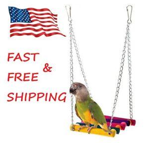 Pet Bird Parrot Parakeet Budgie Cockatiel Cage Hammock Swing Toy Hanging Toy USA