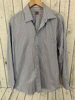 Peter Millar Button Front Shirt Men's Size L 16 1/2 100% Cotton Blue Striped U1