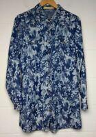 Love Angelus Long Sleeve Floral Denim Chambray Shirt Dress Large Lightweight