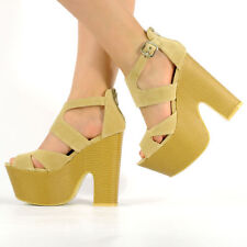 Womens Ladies Midi Demi Wedge Chunky High Heel Ankle Strap Party Shoes Size 3-8 Nude Suede UK 6 EU 39