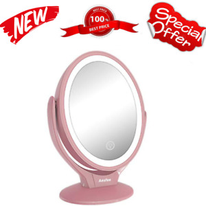 Lighted Vanity Cosmetic Makeup Mirror Magnifying 1X/7X with LED Light Tabletop