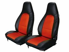 PORSCHE 911 928 944 968 BLACK/RED LEATHER-LIKE CUSTOM MADE FRONT SEAT COVER