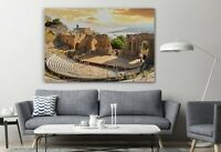 Taormina Theater Sicily Italy Colorful Canvas Decor Art Print Room Painting
