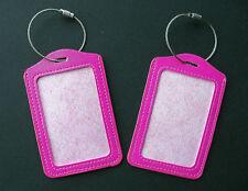 2 Kofferanhänger Gepäckanhänger magenta / pink Namensschilder 7 x 11 cm