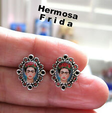 FRIDA KAHLO mini earrings STUD hispanic latina MEXICAN ALTERED ART UNIQUE GIFT x