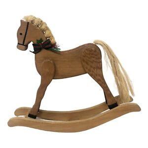 """Vintage Hand Crafted Wood Rocking Horse Rope Jute Tail Mane 10 1/2"""" High Decor"""