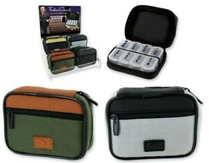 7 Day Sorter Pill Vitamin Weekly Travel Organizer Box in Zippered Case Men's NEW