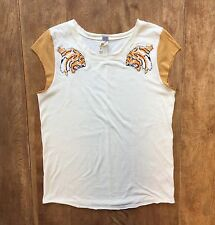 We the Free Jungle Cat Tiger Tee Sz L Embroidered Ivory/Brown