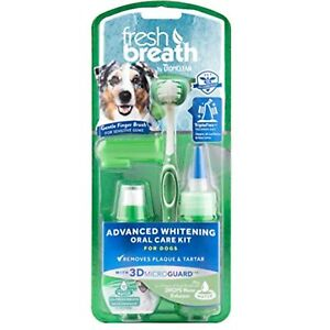 Fresh Breath by TropiClean Advanced Whitening Oral Care Kit for Dogs, Large,