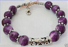 Beautiful handmade the Tibet silver purple Jade Bracelet 7.5 ~ 8 inches