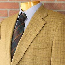 Hilton Light Brown Black Check Blazer Sportcoat 100% Wool Made in USA 40R