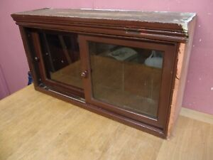 ANTIQUE PINE KITCHEN WALL HANGING CABINET WITH SLIDING GLAZED DOORS c1900