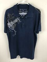Affliction Mens Embroidered Polo Shirt Size Large Blue Skulls Distressed Collar