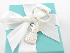 AUTHENTIC NEW TIFFANY & CO SILVER PINEAPPLE KEYCHAIN KEY CHAIN RING BOX