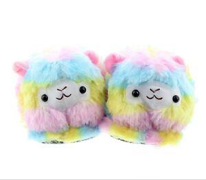 Rainbow Llama Alpaca House Slippers Fluffy Cute Shoes Unisex (Pair)