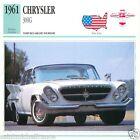 CHRYSLER 300G 1961 CAR VOITURE UNITED STATES ÉTATS UNIS CARD FICHE