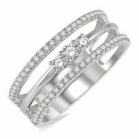 0.45 Ct Solitaire Diamond Engagement Band Ring Round Cut 14K White Gold Size 6