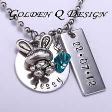 Personalised Stainless Steel Baby Name Date Birthstone Mummy Necklace Gift D150