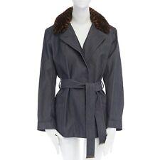 LOUIS VUITTON brown removable damier fur collar indigo unwashed denim coat  FR40 b2c3ee38ecb