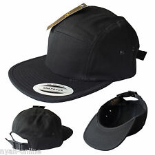 NEW *BLACK* 5 PANEL CAP PLAIN BASEBALL JOCKEY SNAPBACK ERA FITTED FLAT PEAK HAT