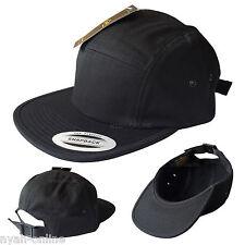 NEW *BLACK* 5 PANEL CAP PLAIN STRAPBACK BASEBALL SNAPBACK FITTED FLAT PEAK HAT