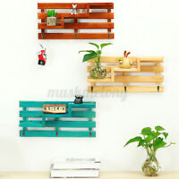 Vintage Wall Mounted Wooden Rack Wood Storage Shelf Holder Organizer W/ 3 Hooks