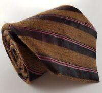DONNA KARAN Signature 57L Copper & Burgundy Striped Wool Blend Mens Neck Tie USA