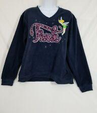 Tinkerbell Disney Girls Sweater Blue Fleece Top Size Medium