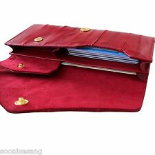 Genuine Eel Skin Leather Button Wallet Purse (Red)