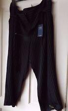 M&S BLACK PINSTRIPED CROPPED PANTS, SIZE UK 24 LONG  BNWT