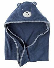 New Carter's Hooded Bath Towel Happy Bear Face Terry Material NWT Baby Blue