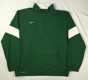 NIKE 1/4 zip Storm-fit green long sleeve MENS MEDIUM M vented pullover toggle