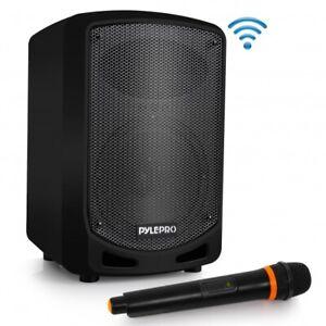 Pyle Compact & Portable Bluetooth PA Speaker - Karaoke + Wireless Microphone