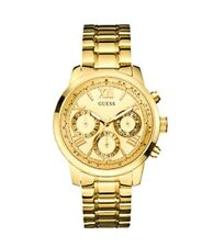 New Guess Ladies U0330L1 Round Dial Classic Stainless Gold Band Sport Watch