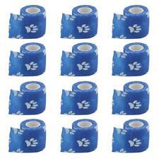 12 Rolls Cat Dog Pet Cohesive Bandage Non-Woven Self-adhesive Bandage Blue