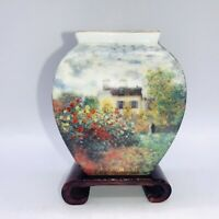 Goebel Claude Monet Petit Mini Vase With Wood  Stand Approx 3 1/8 Inch Tall