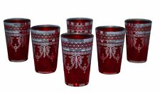 Moroccan Tea Glasses Espresso Shot Glass Handmade Turkish 6-pack Red