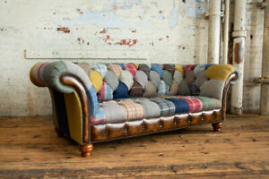 HANDMADE 3 SEATER MULTI COLOUR WOOL & LEATHER PATCHWORK CHESTERFIELD SOFA