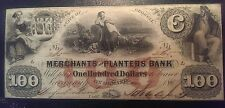 1859 $100 Merchants and Planters Bank State of Georgia Obsolete Note